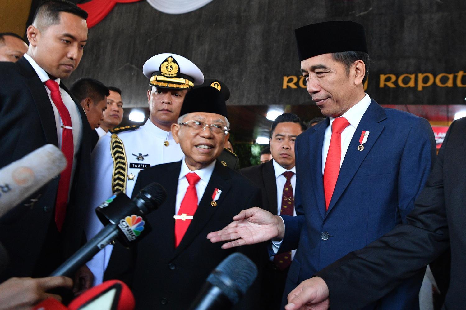 Presiden Joko Widodo bersama Wakil Presiden Ma'ruf Amin