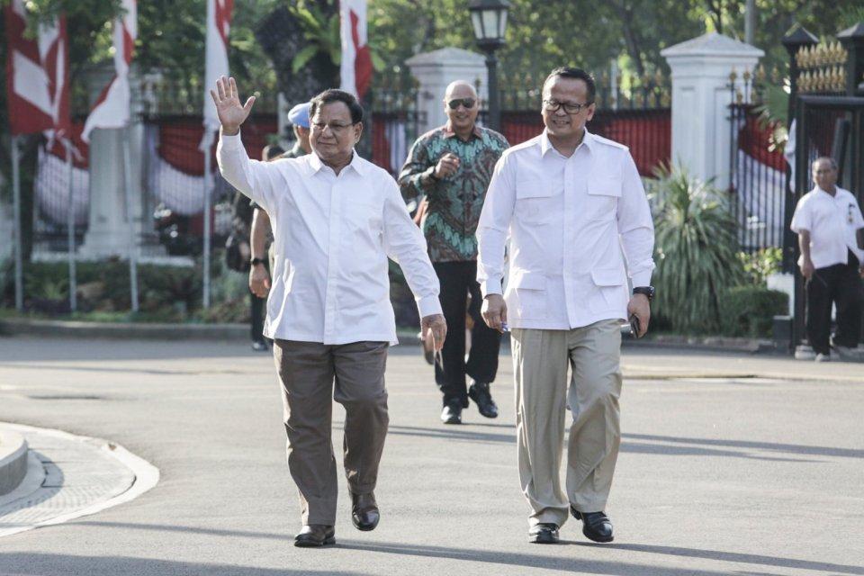 Ketua Gerindra, Prabowo Subianto (kiri) dan Politikus Partai Gerindra Edhy Prabowo.