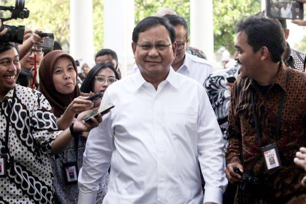 Ketua Gerindra, Prabowo Subianto mendatangi Istana Kepresidenan, Jakarta (21/10/2019).