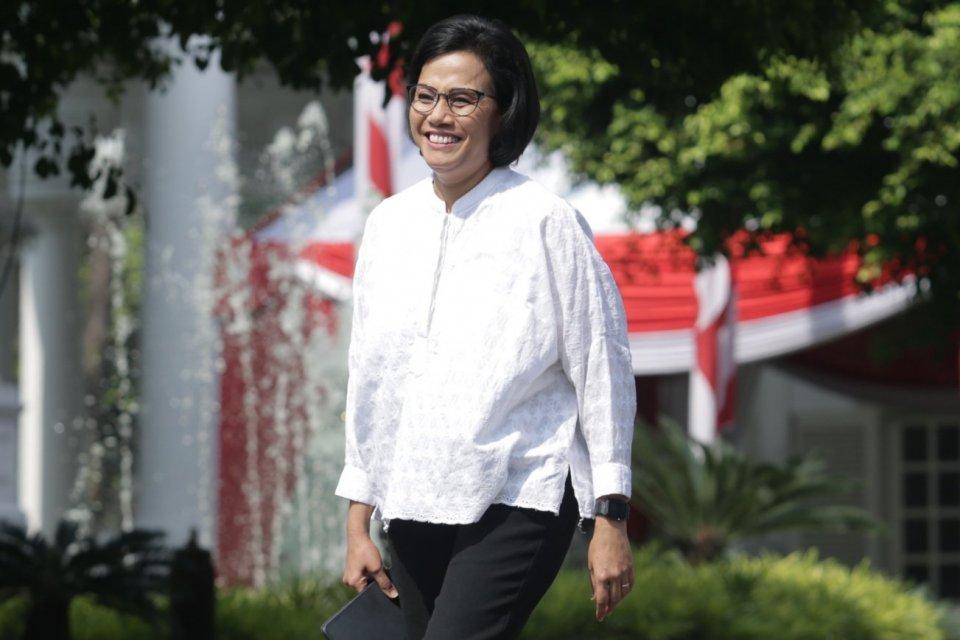 Mantan Menteri Keuangan , Sri Mulyani mendatangi Istana Kepresidenan, Jakarta (22/10/2019).Menurut rencana Presiden Joko Widodo akan memperkenalkan jajaran kabinet barunya kepada publik hari ini usai dilantik Minggu (20/10/2019) kemarin untuk masa jabata