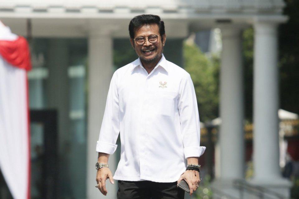 Mantan Gubernur Sulawesi Selatan Syahrul Yasin Limpo mendatangi Istana Kepresidenan, Jakarta (22/10/2019).Menurut rencana Presiden Joko Widodo akan memperkenalkan jajaran kabinet barunya kepada publik hari ini usai dilantik Minggu (20/10/2019) kemarin un