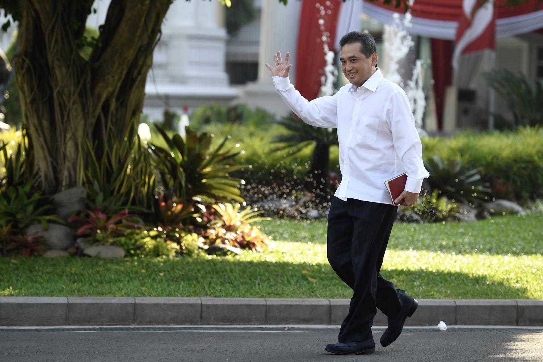 Politikus PKBa Agus Suparmanto tiba Kompleks Istana Kepresidenan di Jakarta, Selasa (22/10/2019).