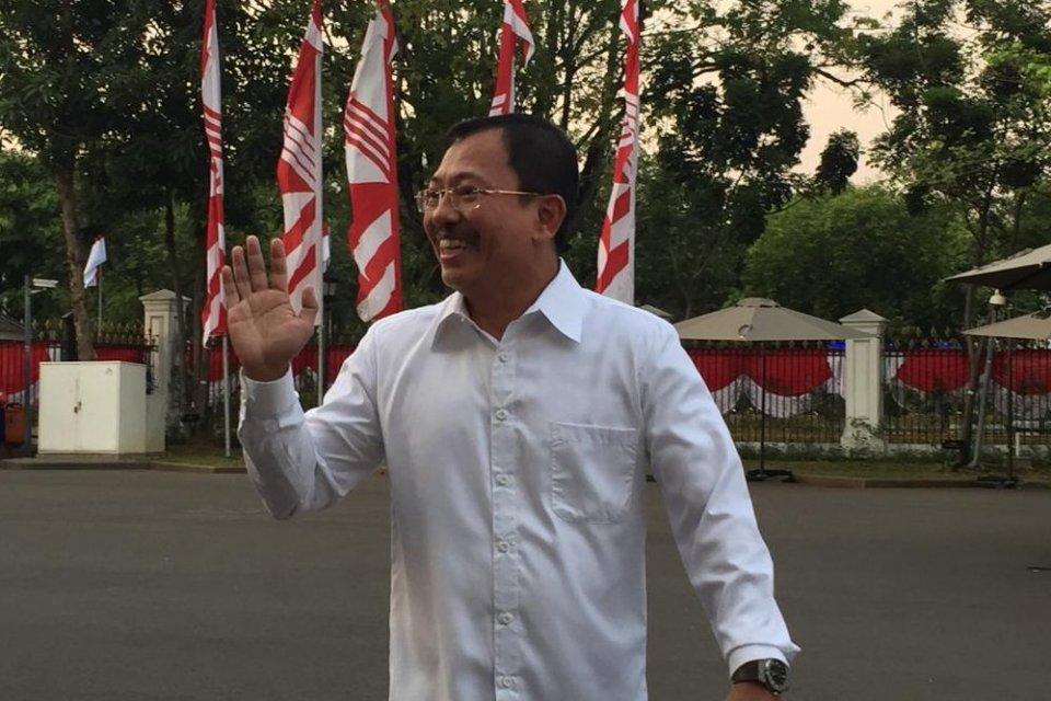 Kepala RSPAD Gatot Subroto Terawan Agus Putranto datang ke Istana Negara pada Selasa (22/10)