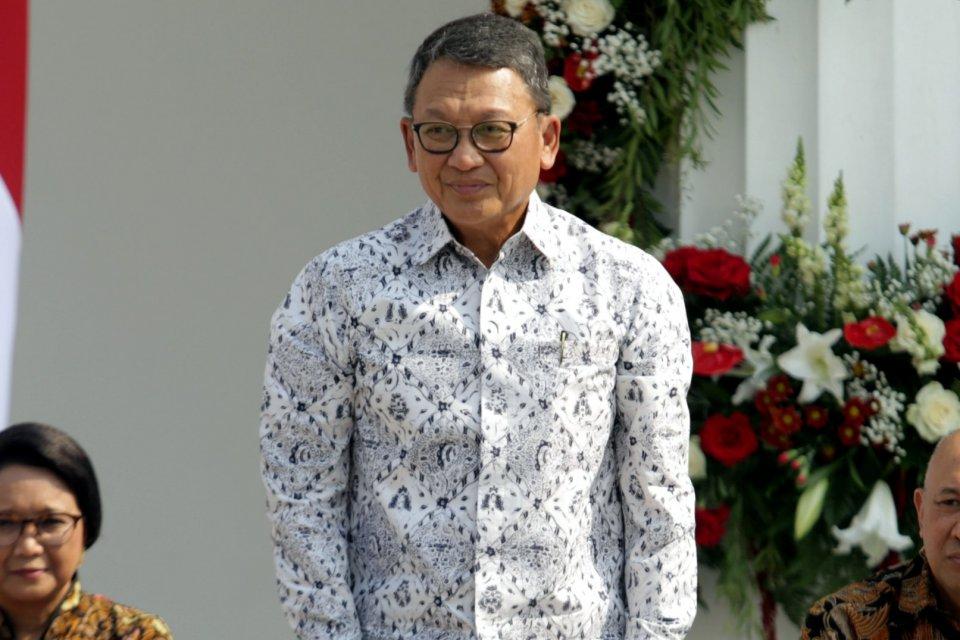 Menteri ESDM Arifin Tasrif di halaman Istana Merdeka, Jakarta Pusat (23/10/2019).