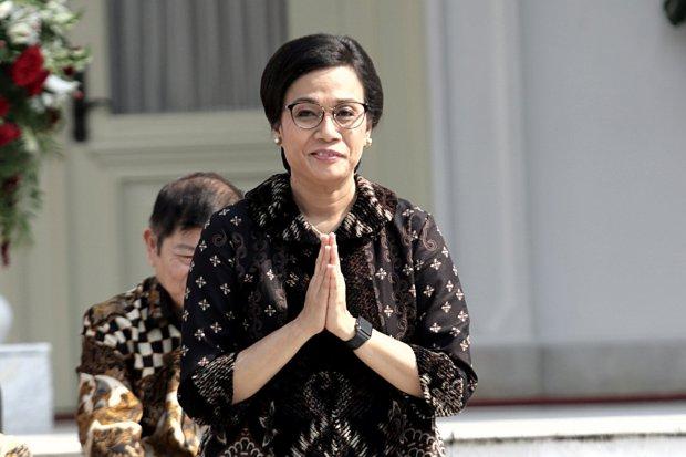 Menkeu: Sri Mulyani di halaman Istana Merdeka, Jakarta Puaat (23/10/2019). Hari ini presiden Joko Widodo mengumum para calon Menteri dan Pejabat Setingkat Menteri Periode Tahun 2019-2024.