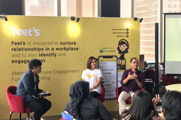 Ilustras, konferensi pers Feet's. Startup asal Malaysia, Feet's menawarkan solusi pengelolaan SDM di Indonesia.