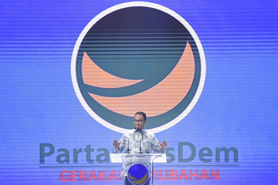 Gubernur DKI Jakarta Anies Baswedan memberikan sambutan saat pembukaan Kongres II Partai NasDem di JIExpo, Jakarta, Jumat (8/11/2019). Kongres II Partai NasDem yang digelar 8-11 November itu mengusung tema Restorasi Untuk Indonesia Maju.