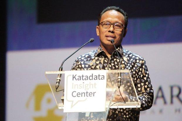 Dirjen Bina Keuangan Daerah Kementerian Dalam Negeri, Syafrudin, saat keynote speech pada Malam Penghargaan Indeks Kelola 2019, dengan tema Kinerja dan Efektivitas Pengelolaan APBD, Jakarta, Kamis, (28/11/2019).