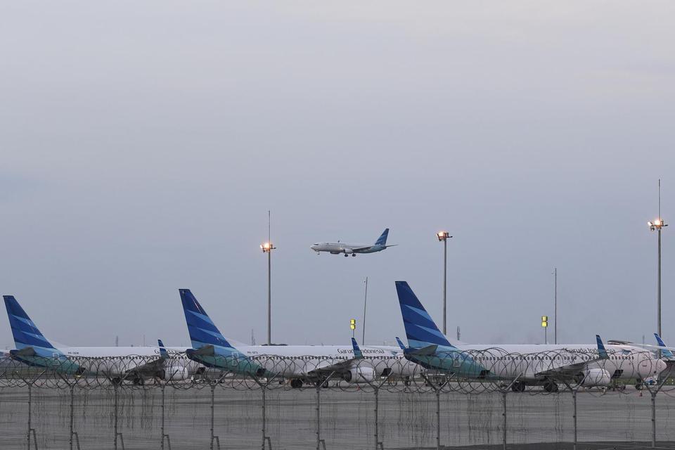 Pesawat Garuda Indonesia di Bandara Soekarno-Hatta, Tangerang, Banten, Kamis (23/1/2020).