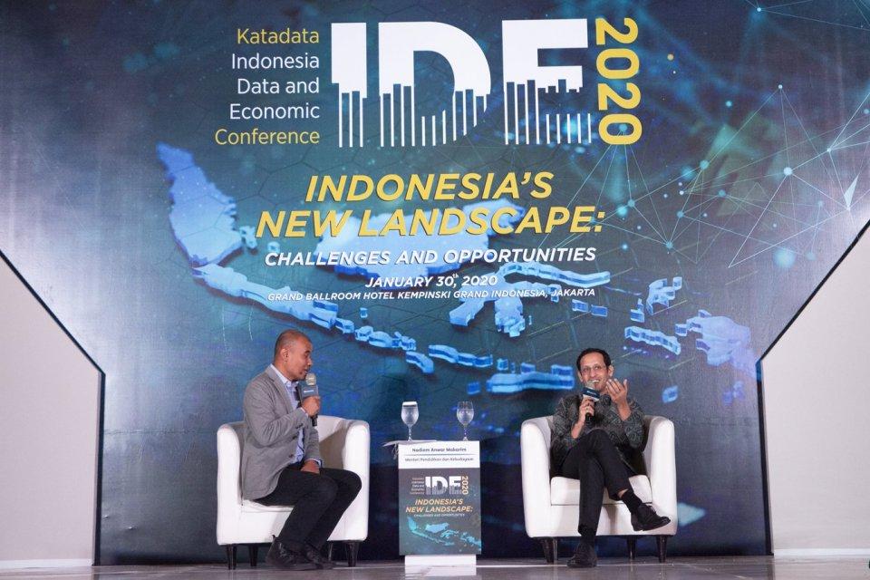 Menteri Pendidikan dan Kebudayaan Nadiem Makarim saat menghadiri acara Katadata Indonesia Data and Economic Conference (IDE Katadata) 2020 di Jakarta, Kamis (30/1).
