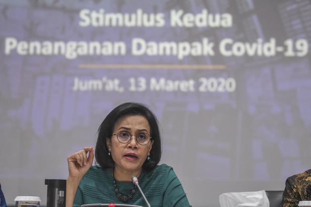 Ilustrasi, Menteri Keuangan Sri Mulyani saat memberikan keterangan kepada media tentang Stimulus Kedua Penanganan Dampak Covid-19. Sri Mulyani memperkirakan dengan skenario terburuk, perekonomian Indonesia berpotensi tumbuh negatif 0,4%.