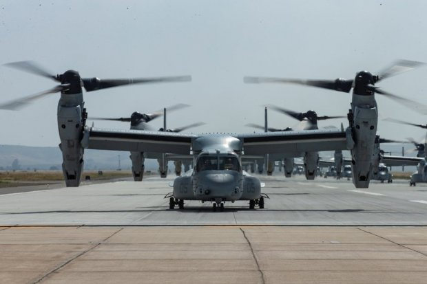 Ilustrasi, pesawat angkut militer MV-22B Osprey. Indonesia bakal membeli delapan MV-22 Block C Osprey beserta perlengkapan senjata pendukung senilai US$ 2 miliar.