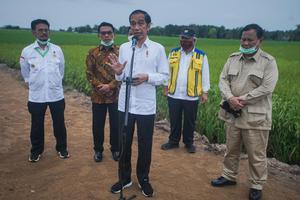 PRESIDEN TINJAU KESIAPAN LUMBUNG PANGAN NASIONAL BARU DI KALTENG