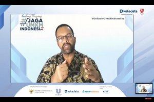 Hemant Bakshi, Presiden Direktur PT. Unilever Indonesia Tbk memaparkan materi dalam acara webinar katadata Jaga UMKM Indonesia