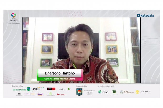 CEO, PT Rimba Makmur Utama Dharsono Hartono memaparkan materi dalam acara diskusi virtual SAFE Forum 2020: Sustainable Innovation, Kamis (27/8/2020).