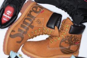 Ilustrasi kolaborasi brand Suprame dengan merek sepatu Timberland. Merek streetwear asal Amerika Serikat ini baru saja diakuisisi VF Corp senilai US$