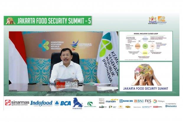 Menteri Kesehatan, Terawan Agus Putranto memberikan materi dalam acara webinar Jakarta Food Security Summit, Kamis (19/11/2020).