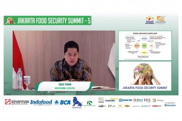 Menteri BUMN, Erick Thohir memberikan materi dalam acara webinar Jakarta Food Security Summit, Kamis (19/11/2020).