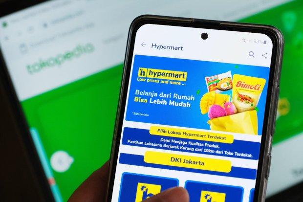 Ilustrasi, layanan Hypermart milik Matahari di platform Tokopedia
