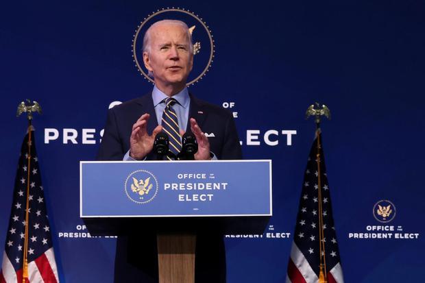 Jonathan Ernst Presiden Amerika Serikat terpilih Joe Biden memberikan pidato tentang kebijakan luar negeri dan keamanan nasional di kantor transisinya di Wilmington, Delaware, Amerika Serikat, Senin (28/12/2020).