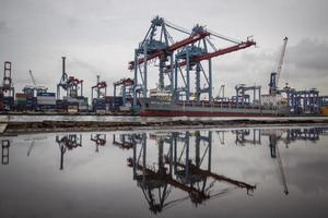 Suasana aktivitas bongkar muat peti kemas di Pelabuhan Tanjung Priok, Jakarta Utara, Kamis (21/1/2021). Bank Indonesia (BI) kembali mempertahankan tin