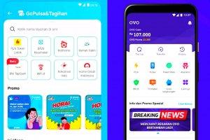Tampilan platform GoPay dan OVO