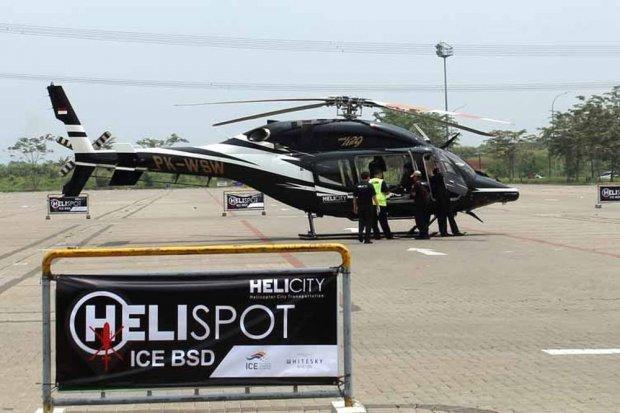 Salah satu titik layanan Helicity di ICE, BSD. Layanan taksi terbang milik Whitesky Aviation, Helicity, melayani pengantaran dan penjemputan konsumen hingga ke 72 titik di Jakarta.