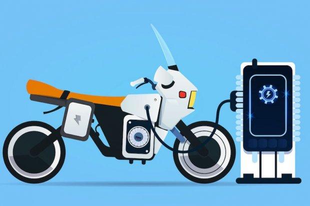 Ilustrasi sepeda motor listrik