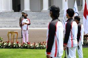 Presiden Joko Widodo saat acara pelepasan kontingen Indonesia ke Olimpiade Tokyo di Istana Negara, Jakarta (8/7). (Foto: Biro Pers Sekretariat Preside
