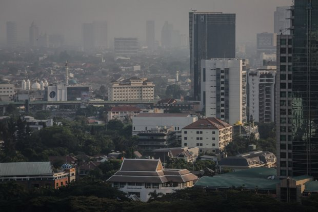 Kualitas udara di Jakarta yang memburuk.