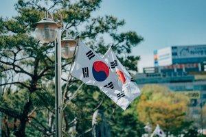 Ilustrasi bendera Korea Selatan yang dikibarkan