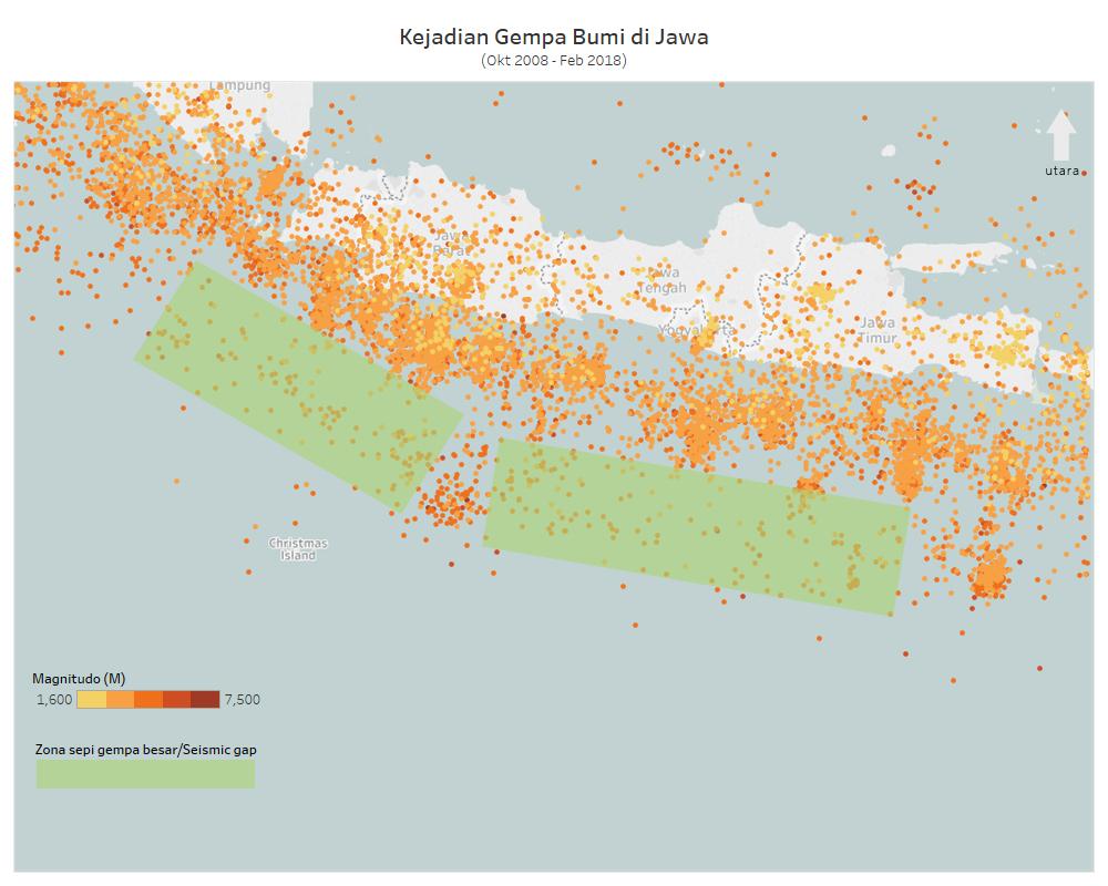 Kejadian Gempa di Jawa (2008-2018)
